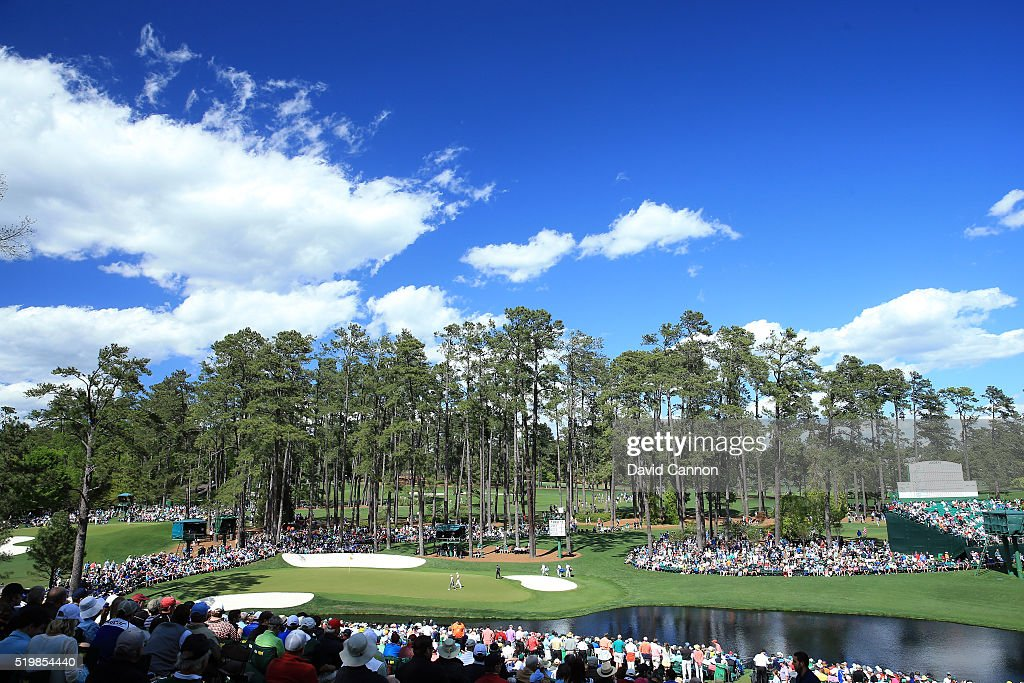 The 16th hole is seen during the second round of the 2016 Masters Tournament at Augusta National Golf Club on April 8 2016 in Augusta Georgia