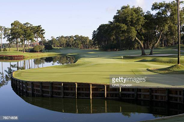 The 16th hole of THE PLAYERS Stadium Course at the TPC Sawgrass in Ponte Vedra Beach FL Photo by Chris Condon/PGA TOUR
