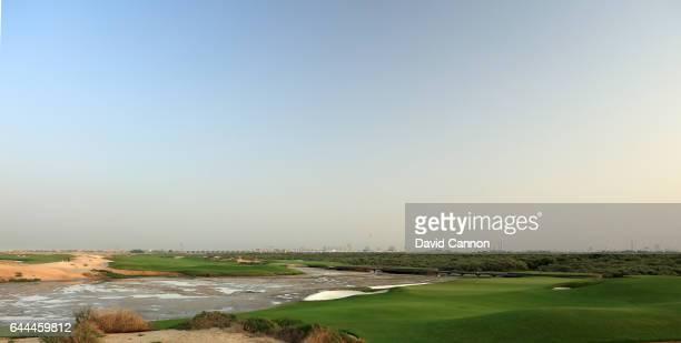 The 170 yards par 3 15th hole at the Al Zoorah Golf Club on January 29 2017 in Ajman United Arab Emirates