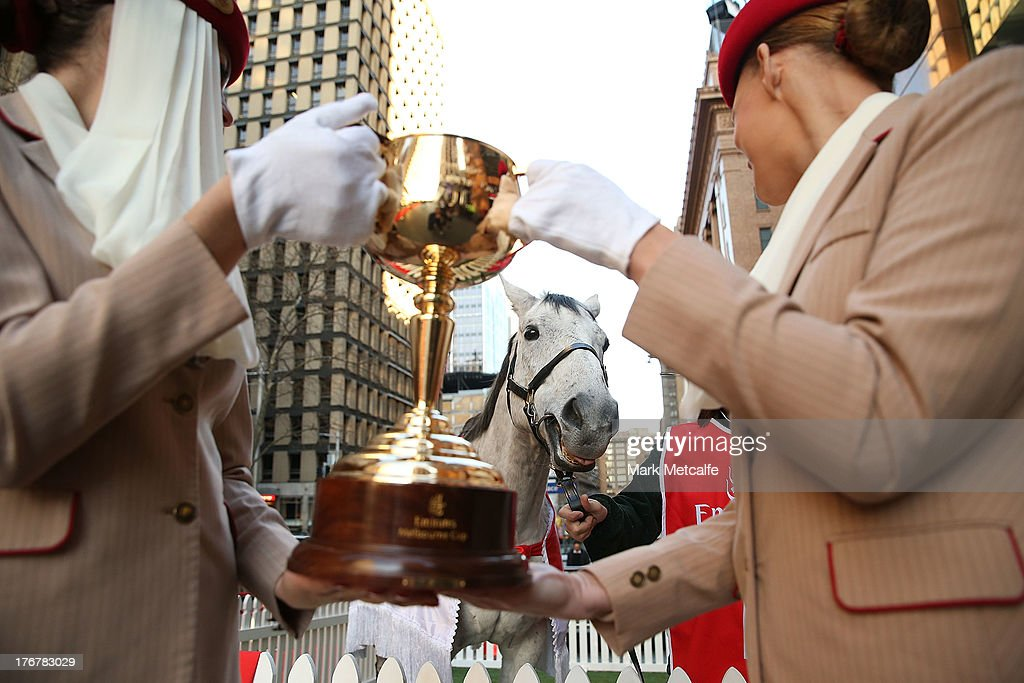 The $175,000.00 AUD Emirates Melbourne Cup is seen alongside 2007 Emirates Melbourne Cup winning horse Efficient in Martin Place on August 19, 2013 in Sydney, Australia.