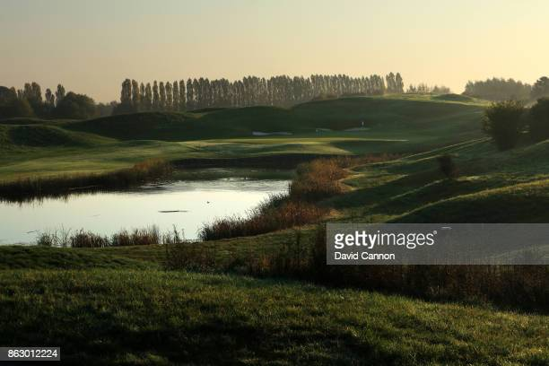 The 181 yards par 3 11th hole on the Albatross Course at Le Golf National the host venue for the 2018 Ryder Cup on October 15 2017 in Paris France