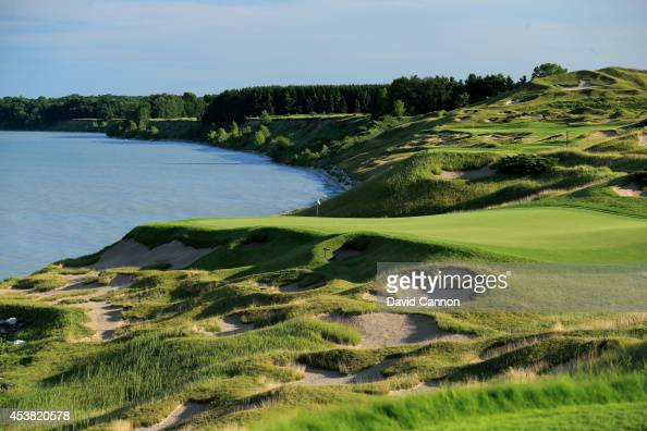 The 188 yards par 3 3rd hole 'O'Man' on the Whistling Straits 'Straits' Course venue for the 2015 PGA Championship on August 14 2014 in Kohler...