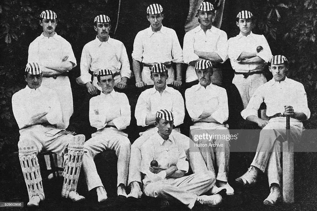 The 1890 Harrow public school cricket team. Back, left to right: A.H.M. Butler, Matthews, Micah Barlow (1873 - 1936), John Bevington (1872 - 1933), H.M. Peebles. Centre, left to right: James Gowans (1872 - 1936), Charles Pope (1872 - 1959), Archie MacLaren 1871 - 1944), Duncan Napier (1871 - 1898), William Anderson (1871 - 1948). On ground: Charles Rudd