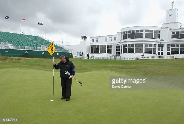 The 18th green is prepared prior to the final round of the 137th Open Championship on July 20 2008 at Royal Birkdale Golf Club Southport England