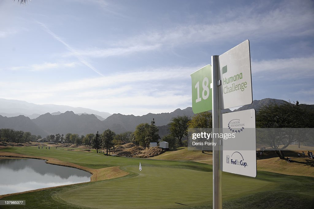 The 18th green is seen at the Nicklaus Private Course at the PGA West golf course during the second round of the Humana Challenge golf tournament...