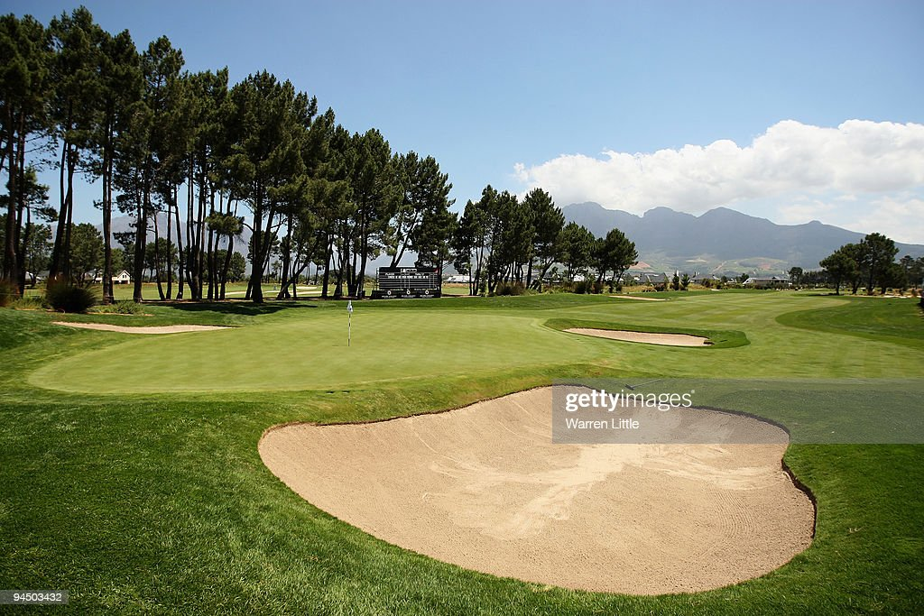 The 18th green prior to the start of the South African Open Championship at Pearl Valley Golf Club on December 16 2009 in Paarl South Africa