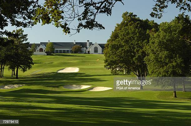 The 18th hole at Southern Hills Country Club site of the 2007 PGA Championship on September 10 2005 in Tulsa Oklahoma
