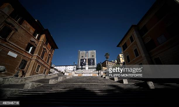 The 18thcentury Baroquestyle stairway known as the Spanish Steps look empty as it will undergo a restoration project funded by luxury jeweller...