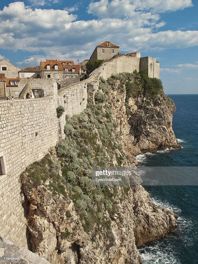 The 1,9 km long city wall of the UNESCO World Heritage Site city of Dubrovnik on the Dalmatian coast of the Adriatic Sea on May 13, 2011 in Dubrovnik, Croatia. The old town is called the Pearl of the Adriatic.