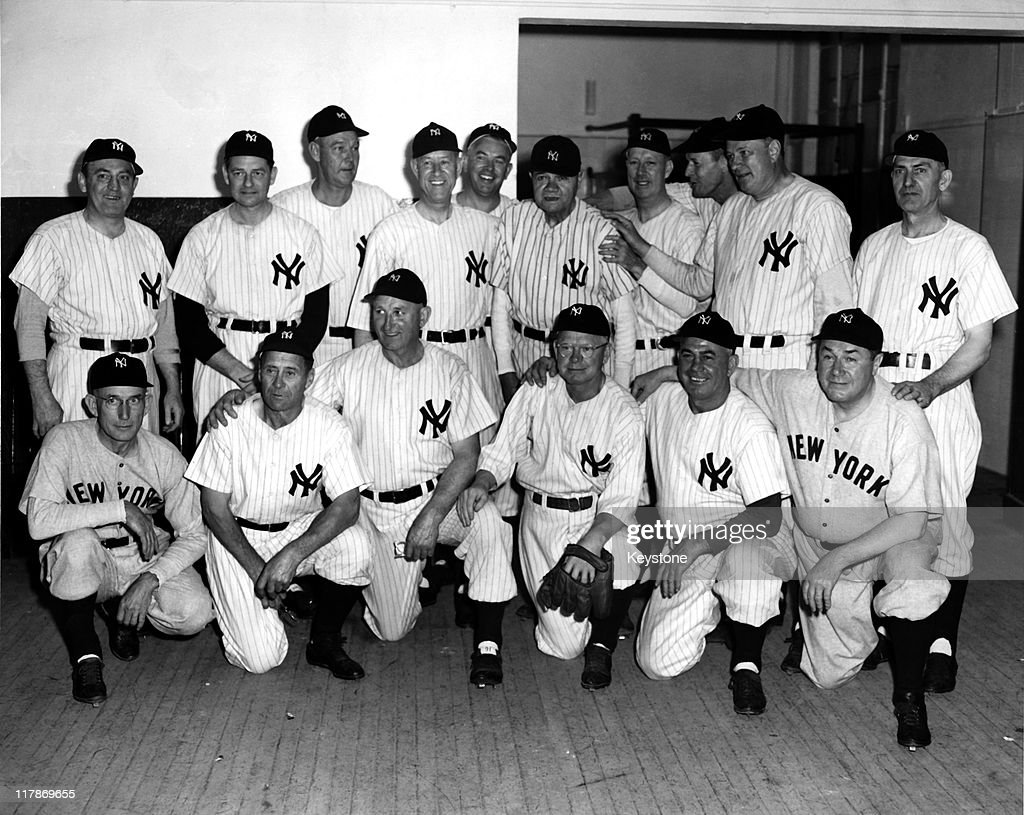 The 1923 New York Yankees pose for a team portrait during the 25th anniversary celebration of the opening of Yankee Stadium on June 13, 1948 in the Bronx, New York. The players from (L-R) top row, Hinkey Haines, Waite Hoyt, George Pipgras, Joe Bush, Oscar Roettger, <a gi-track='captionPersonalityLinkClicked' href=/galleries/search?phrase=Babe+Ruth&family=editorial&specificpeople=94423 ng-click='$event.stopPropagation()'>Babe Ruth</a>, Bob Meusel, Joe Dugan, Wally Pipp, Elmer Smith, bottom row, Sam Jones, Wally Schang, Carl Mays, Whitey Witt, Fred Hofmann and Mike McNally. They all played a two inning game today.