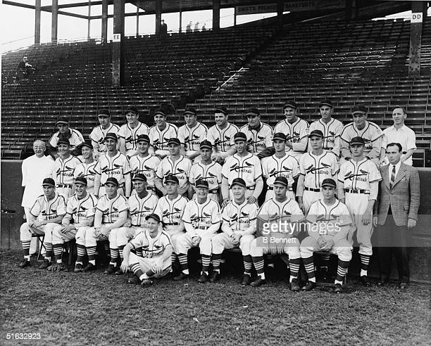 The 1942 St Louis Cardinals pose for a team portrait September 25 1942 Frank Crespi Coaker Triplett Ervin Dusak Ray Sanders Terry Moore Max Lanies...