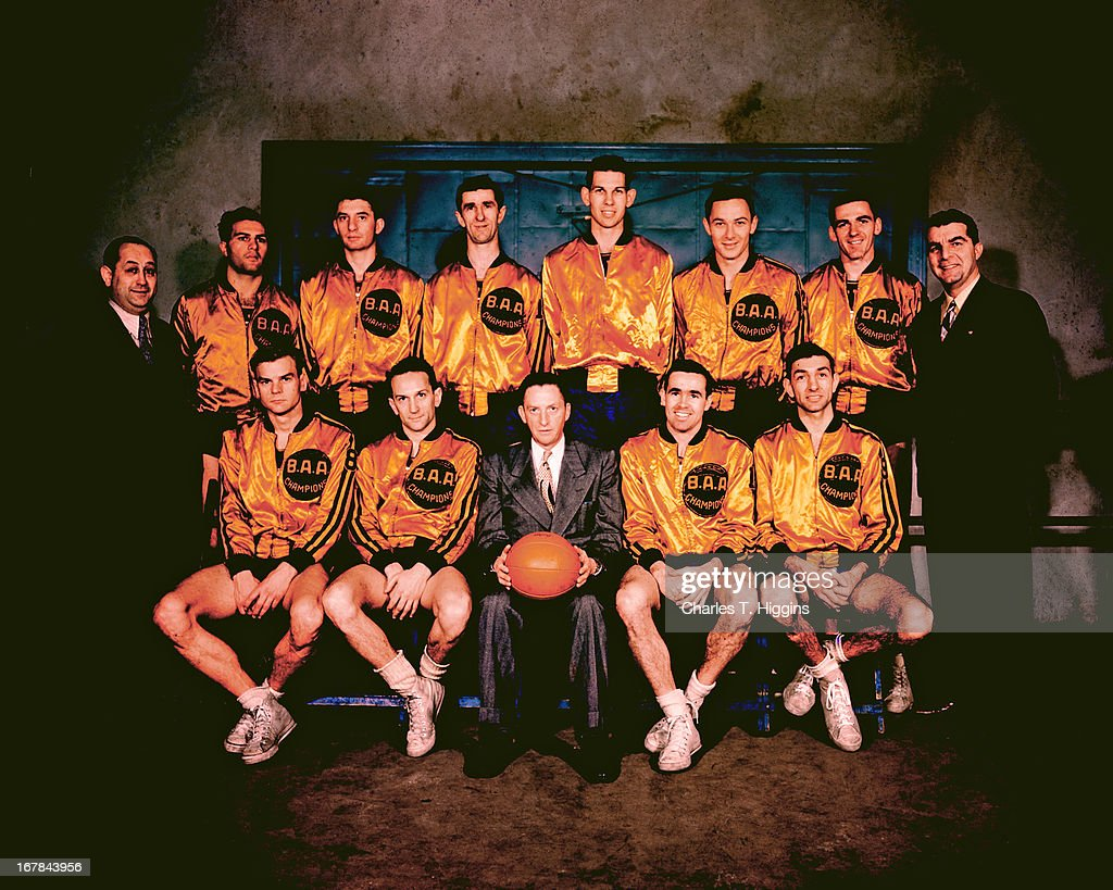 The 1947 Philadelphia Warriors poses for a team portrait circa 1947 at the Philadelphia Civic Center in Philadelphia, Pennsylvania.