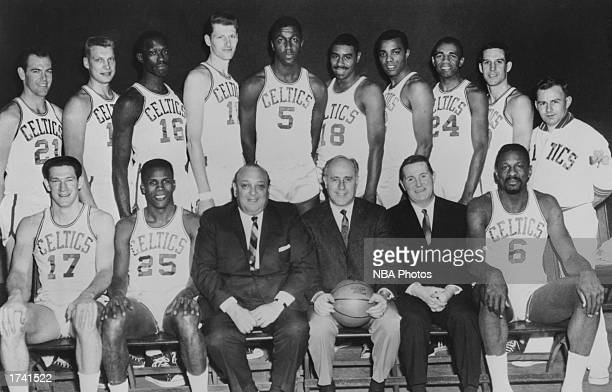 The 196566 NBA Champion Boston Celtics Seated John Havilcek KC Jones Marvin Kratter Chairman of the board Coach Red Auerbach President John J Waldron...