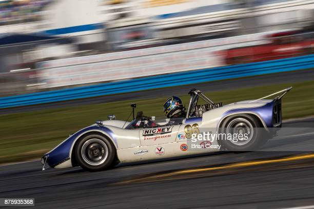 The 1966 McLaren M1B of Andrew Beaumont and Nigel Greensall races on the track during the Classic 24 at Daytona Historic Sportscar Race at Daytona...