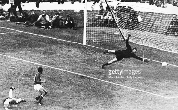 The 1966 World Cup football championship was held in England In this semifinal match Russian world cup veteran goalkeeper Lev Yashin is beaten by...