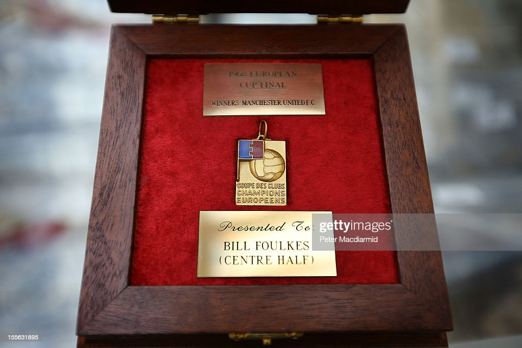 The 1968 European Cup winner's medal awarded to Bill Foulkes of Manchester United is displayed for sale at Sotheby's on November 6, 2012 in London, England. Graham Budd auctioneers are holding a two day sale of Sporting Memorabilia at Sotheby's in London on 5-6th November 2012.