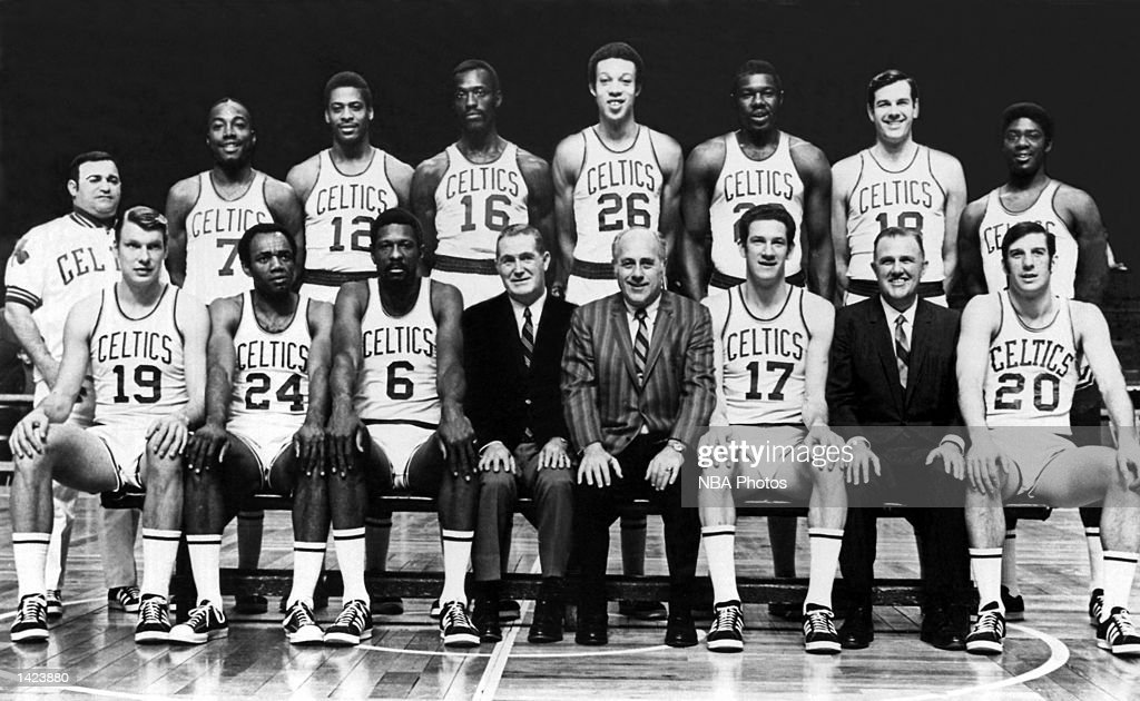 The 1968-69 World Champions of basketball Boston Celtics pose for a team portrait at the Boston Garden in Boston, Massachusetts in 1969. Front row (L-R): Don Nelson, Sam Jones, Player Coach Bill Russell, President Jack Waldron, General Manager Red Auerbach, John Havlicek, Team Physician Dr. Thomas Silva, Larry Siegfried. Back Row: Trainer Joe DeLauri, Emmette Bryant, Don Chaney, Tom Sanders, Rich Johnson, Jim Barnes, Bailey Howell, Mal Graham.
