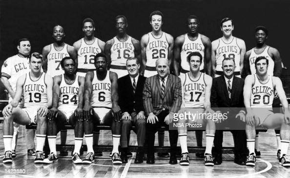 The 196869 World Champions of basketball Boston Celtics pose for a team portrait at the Boston Garden in Boston Massachusetts in 1969 Front row Don...