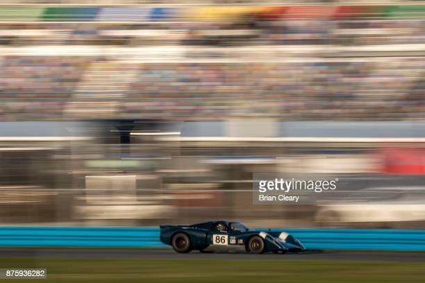 The 1969 Chevron B16 of Martin Lauber races on the track during the Classic 24 at Daytona Historic Sportscar Race at Daytona International Speedway...