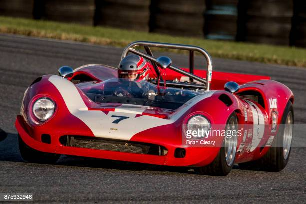 The 1969 Lola T70 MkIIIb of Gerard Lopez and Frantz Wallenborn races on the track during the Classic 24 at Daytona Historic Sportscar Race at Daytona...