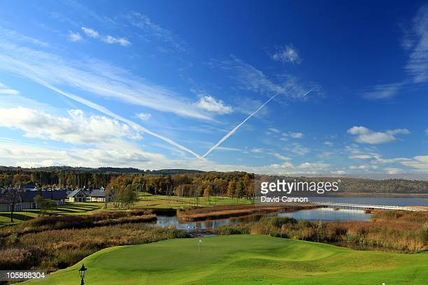 The 197 yards par 3 5th hole 'Dovecote Carry' on the Faldo Championship Course at Lough Erne Resort on October 20 2010 in Enniskillen Northern Ireland