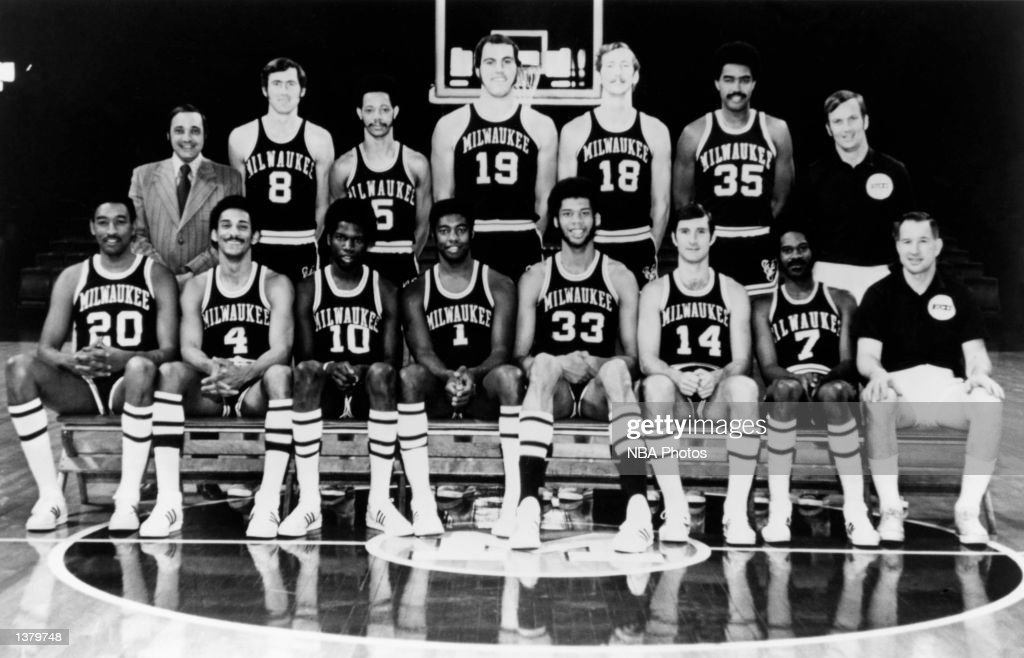 The 197071 NBA Champion Milwaukee Bucks pose for a team portrait in Milwaukee Wisconsin Seated from left Bob Boozer Greg Smith Bob Dandridge Oscar...