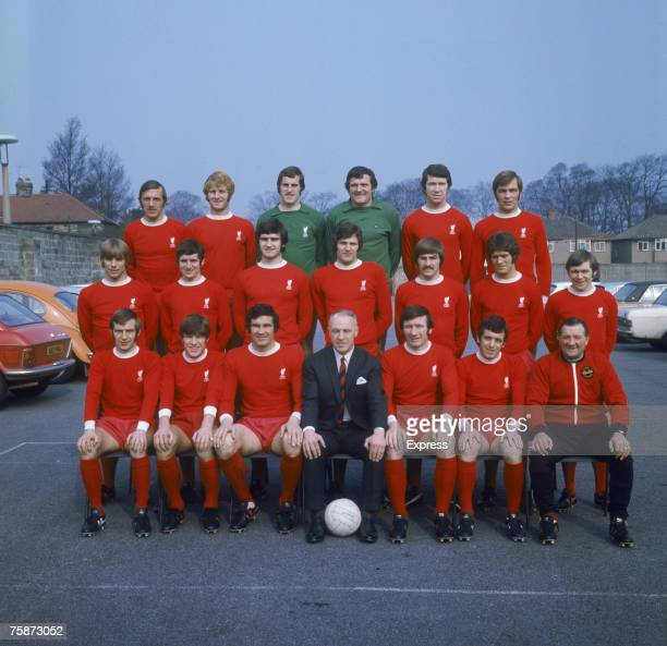 The 1971 Liverpool FC Cup Final squad Players include goalkeeper Ray Clements Larry Lloyd and Emlyn Hughes Manager Bill Shankly is seated front row...