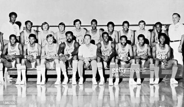 The 197172 NBA Champion Los Angeles Lakers pose for a team portrait at the Forum in Los Angeles California Front row Jim McMillian Jim Cleamons Pat...