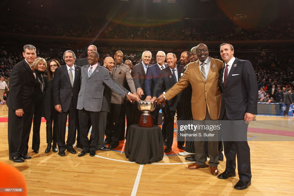 The 1972 - 1973 Championship New York Knicks team during a ceremony at halftime honoring the 40th anniversary of the team's victory in the NBA Finals on April 5, 2013 at Madison Square Garden in New York City.