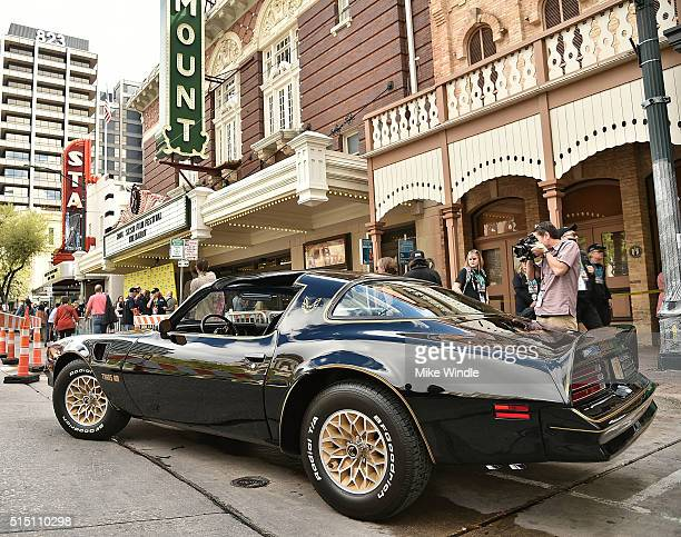 The 1977 Pontiac TransAm from the TV show 'Smokey and The Bandit' is displayed during the screening of 'The Bandit' during the 2016 SXSW Music Film...
