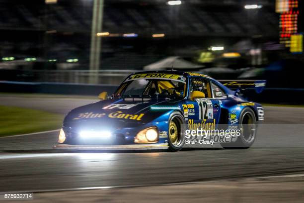 The 1980 Porsche 935 of Mike Smith and Dave Smith races on the track at night during the Classic 24 at Daytona Historic Sportscar Race at Daytona...