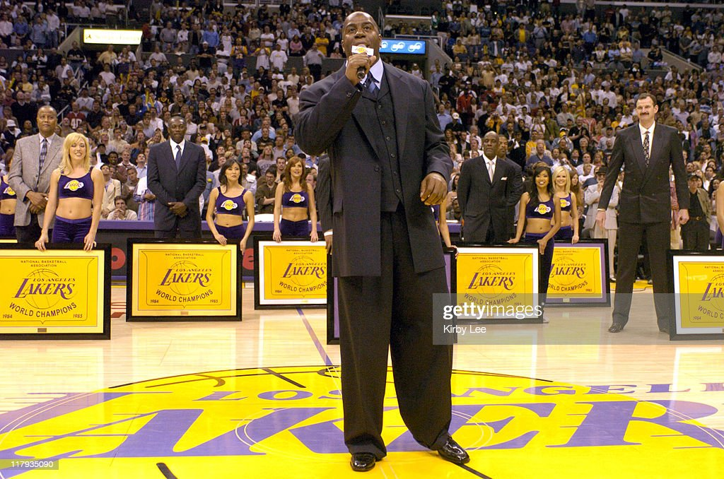 The 1985 Los Angeles Lakers NBA Championship team is honored during the halftime ceremony at the Staples Center in Los Angeles Calif on Monday April...