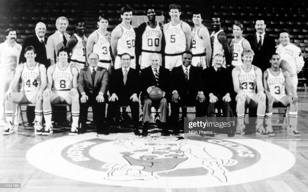 The 198586 NBA Champion Boston Celtics pose for a team portrait Front row Danny Ainge Scott Wedman Vice Chairman and Treasurer Alan Cohen Executive...