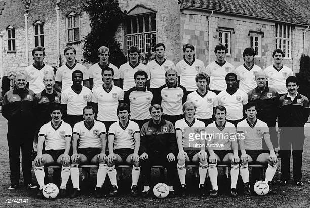 The 1986 England World Cup Squad including players and backroom staff front row Kenny Sansom Ray Wilkins Bryan Robson Bobby Robson Mark Wright Trevor...