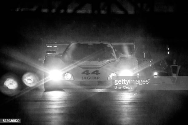 The 1988 Jaguar XJRS of Randall Smalley Robert Smalley and Tom Dyer races on the track at night during the Classic 24 at Daytona Historic Sportscar...