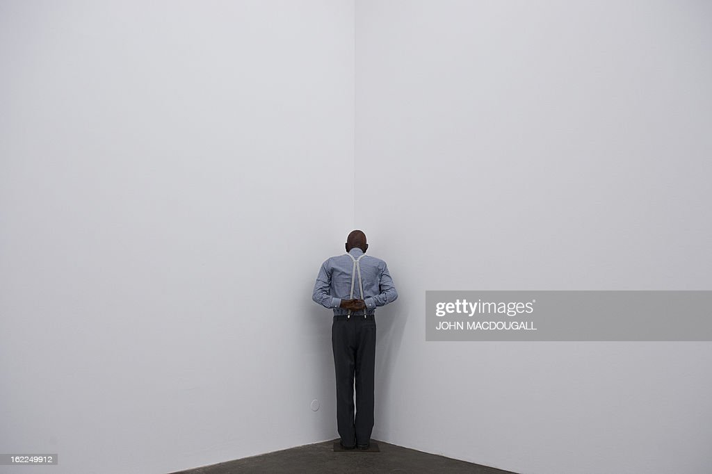 The 1989 sculpture 'Martin, Into the Corner, You Should Be Ashamed of Yourself' by German artist Martin Kippenberger (1953-1997) is on display at the exhibition 'Martin Kippenberger Sehr Gut / Very Good' at Berlin's Hamburger Bahnhof museum for contemporary art on February 21, 2013. The exhibition, a retrospective of the artist's prolific and varied output opens from February 23 to August 18, 2013.