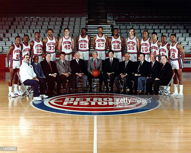 The 198990 World Champions of basketball Detroit Pistons pose for a team portrait in Detroit MI in 1990 Front row Trainer Mike Abdenour Asst General...