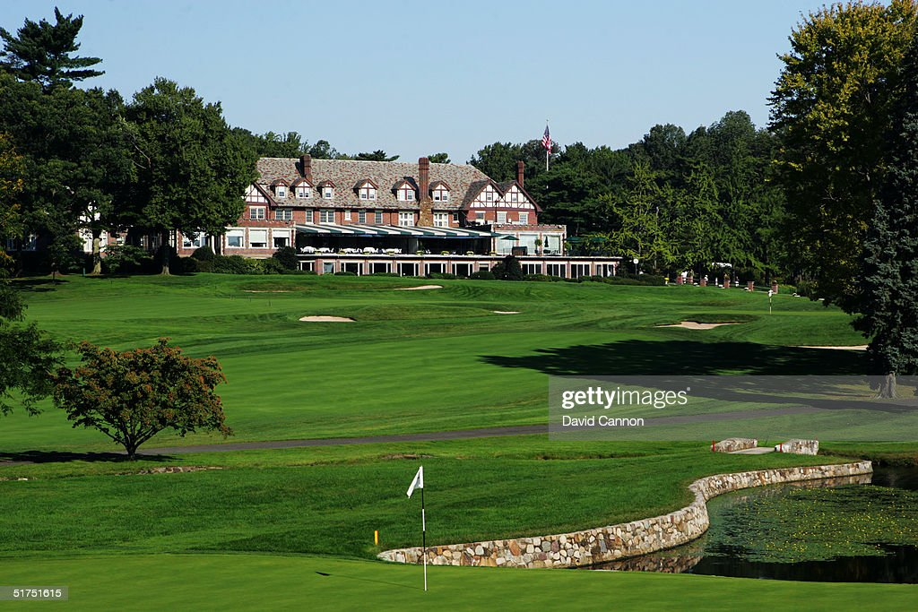 The 199 yard par 3 4th hole on the Lower Course with the Clubhouse behind at Baltusrol Golf Club venue for the 2005 USPGA Championship on September...