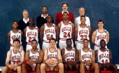 The 199192 NBA Chicago Bulls pose for a team portrait in Chicago IL Front row Bobby Hansen Stacey King will Perdue Cliff Levingston Scott Williams...