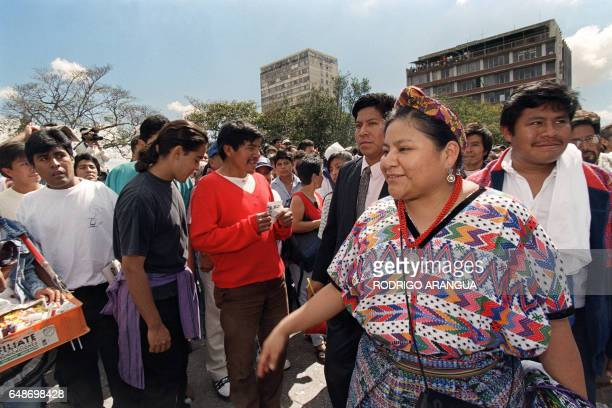 The 1992 Nobel Peace Prize winner Rigoberta Menchu arrives 29 December 1996 at the plaza in front of the National Palace in Guatemala City where the...