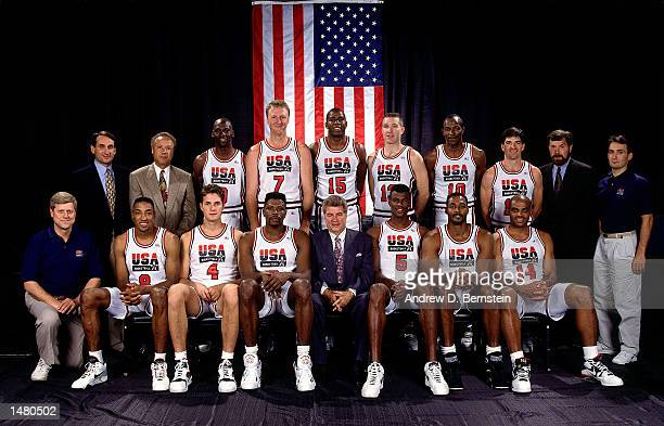 The 1992 USA Men's Basketball Olympic Team pose for a team portrait seated front row Physician Scottie Pippen Christian Laettner Patrick Ewing Head...