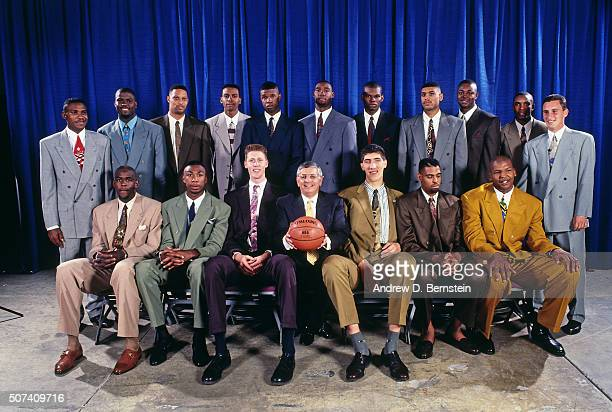 The 1993 NBA Draft Class poses for a photo during the 1993 NBA Draft on June 30 1993 at the Palace of Auburn Hills in Auburn Hills Michigan NOTE TO...