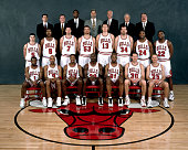 The 199798 NBA Chicago Bulls pose for a team portrait in Chicago IL Front row Randy Brown Ron Harper Scottie Pippen Michael Jordan Dennis Rodman Jud...