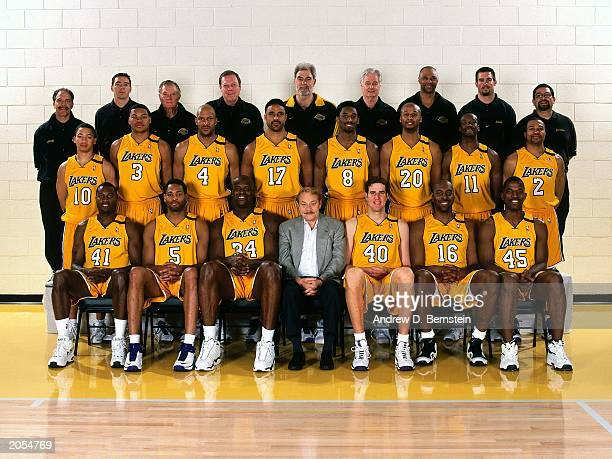 The 19992000 World Champions of basketball Los Angeles Lakers pose for a team portrait at the Lakers Training Facility in El Segundo California in...