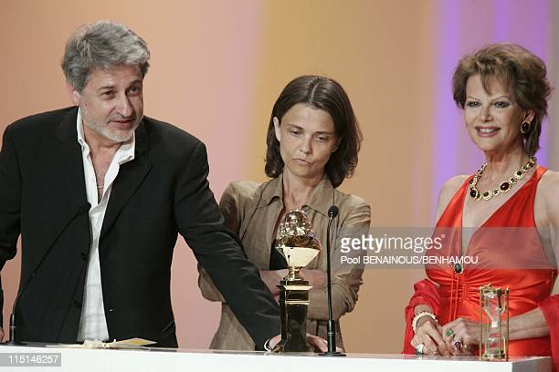 The 19th night of the Molieres at the Mogador Theatre in Paris France on May 09 2005 Didier Bezace and Claudia Cardinale