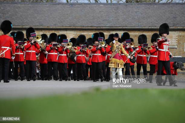 The 1st Battalion Irish Guardsmen march during the annual Irish Guards' St Patrick's Day Parade at Household Cavalry Barracks on March 17 2017 in...