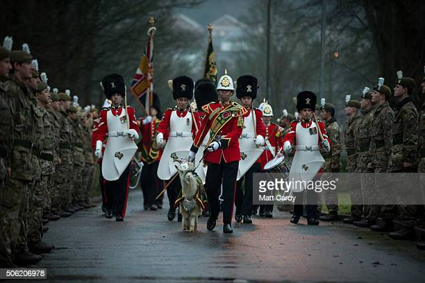 The 1st Battalion of The Royal Welsh's newest recruit Fusilier Llywelyn with his Goat Major Fusilier Matthew Owen before a passing out ceremony at...