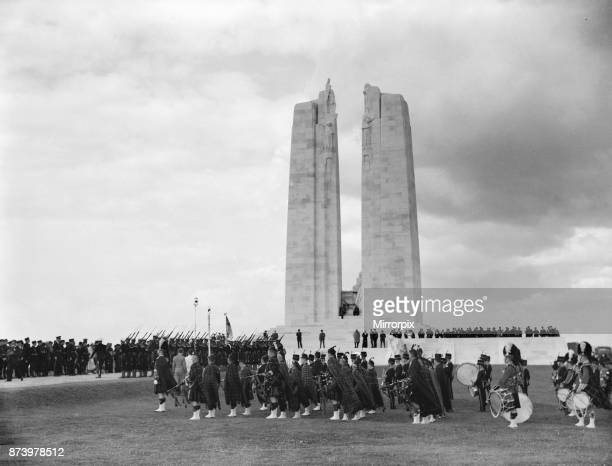 The 1st Canadian Army Massed Pipes and Drums at the dedication of the Canadian War Memorial at Vimy Ridge The band was a composite Pipe Band was...