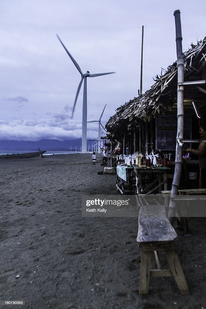 CONTENT] The 20 70-metre (230 ft) high windmills are arranged in a 9 Kilometer row of beach along the South China Sea. Bangui is in the province of Ilocos Norte on the island of Luzon of the Philippines.
