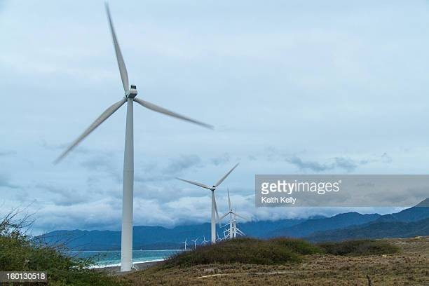 CONTENT] The 20 70metre high windmills are arranged in a 9 Kilometer row of beach along the South China Sea Bangui is in the province of Ilocos Norte...